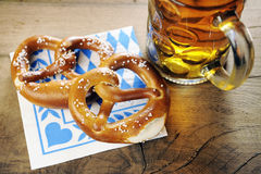 Pretzel on bavarian napkin Royalty Free Stock Photo