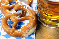 Pretzel on bavarian napkin Royalty Free Stock Image