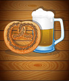 Pretzel and beer mug Royalty Free Stock Image