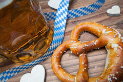 Pretzel and beer still life Stock Photography