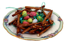 Pretzel Bird Nest with Easter Eggs Stock Image