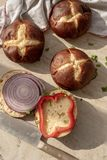 Pretzel bread roll buns for mini slider sandwiches and burgers royalty free stock photos
