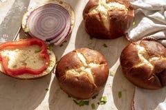 Pretzel bread roll buns for mini slider sandwiches and burgers stock photo