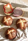 Pretzel bread roll buns for mini slider sandwiches and burgers stock photography