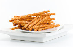 Pretzel bread sticks isolated on white background  Stock Photography