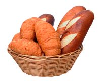 Pretzel breads and crossaints Royalty Free Stock Image