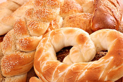 Pretzel and bun food background Stock Image