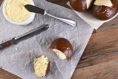 Pretzel Buns Butter Knife Stock Photos