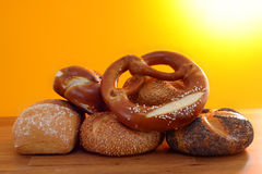Pretzel  and buns in sunshine Royalty Free Stock Photos