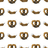 Pretzel craft sketch seamless pattern vector illustration. Royalty Free Stock Photos