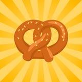 Pretzel Crisp Biscuit Baked in Form of Knot Icon. Pretzel crisp biscuit baked in form of knot and flavored with salt vector in concept of Oktoberfest or royalty free illustration