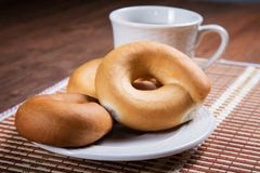 Pretzel and cup of tea close-up Royalty Free Stock Photo
