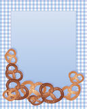 Pretzel design. An illustration of delicious crispy pretzels with salty sprinkles arranged around a note card on a blue and purple gingham background Stock Photography