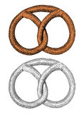 Pretzel in engraving style Royalty Free Stock Images