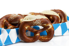 Pretzel in front of pretzels in a bread basket Royalty Free Stock Images