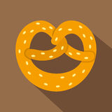 Pretzel icon, flat style Royalty Free Stock Images