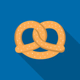 Pretzel icon in flat style isolated on white background. Oktoberfest symbol stock vector illustration. Royalty Free Stock Photo