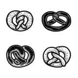 Pretzel icon set, hand drawn style stock illustration
