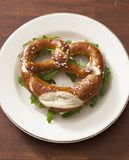 Pretzel with lettuce Royalty Free Stock Photography