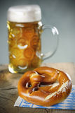 Pretzel and a Mass beer Royalty Free Stock Photo