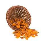 Pretzel pieces spilling from basket Stock Photo