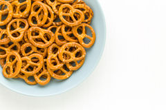 Pretzel in Plate Background stock images