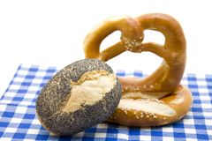 Pretzel with poppy rolls Royalty Free Stock Photography