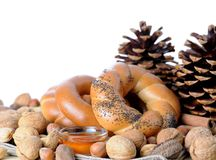 Pretzel ring and nut Royalty Free Stock Images