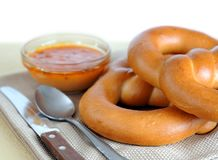 Pretzel ring style bread Stock Photography