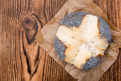 Pretzel Roll with Poppyseed Stock Photography