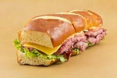 Pretzel Roll Sandwich Stock Images