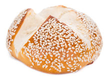 Pretzel Roll (with Sesame) over white Royalty Free Stock Images