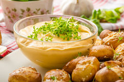 Pretzel rolls with cheese dip Royalty Free Stock Photography