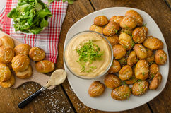 Pretzel rolls with cheese dip Stock Photography