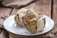 Pretzel Rolls with mixed Seeds Stock Photography