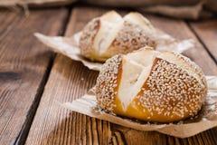 Pretzel Rolls with Sesame Stock Photo