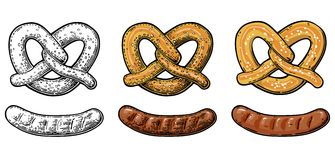 Pretzel and Sausage. Vintage  flat and engraving illustration Stock Image