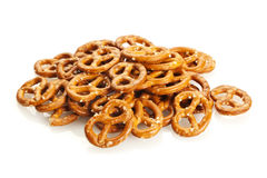 Pretzel Snack. Heap of snack pretzels isolated on white background Royalty Free Stock Photos