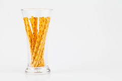 Pretzel snacks in glass Stock Image
