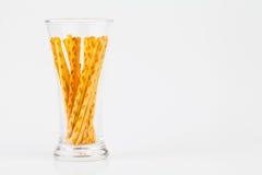 Pretzel snacks in glass Stock Image