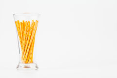 Pretzel snacks in glass Royalty Free Stock Photography