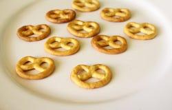 Pretzel. Some little pretzels on a plate Royalty Free Stock Images