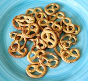 Pretzel. Some little pretzels on a plate Stock Photos