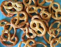 Pretzel. Some little pretzels on a plate stock photo