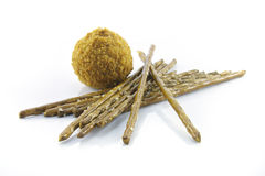 Pretzel Sticks and Scotch Egg Stock Photo