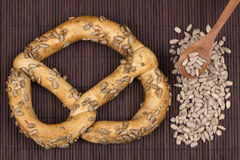 Pretzel  with sunflower seeds Stock Images