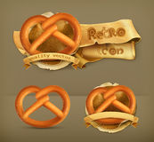 Pretzel vector icons. Set with pretzel, retro vector icons Royalty Free Stock Photography