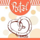 Pretzel vector illustration. Bakery design. Beautiful card with decorative typography element.  Royalty Free Stock Photo