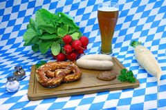 Pretzel and weisswurst Stock Photography