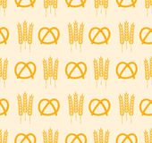 Pretzel and wheat pattern Stock Images